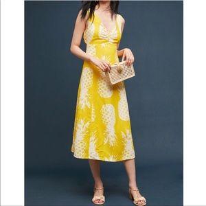 NWOT Anthropologie Maeve Pineapple Midi Dress Sz 4